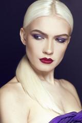 Portrait of beautiful girl wih blonde hair close up