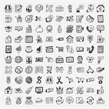 doodle shopping icons set