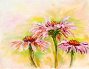 Echinacea, obraz olejny