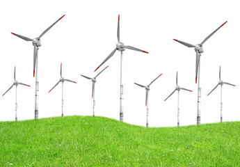 Spring meadow with wind turbines on white