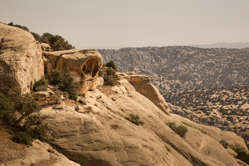 Rock formation in Dana National Park, Jordan