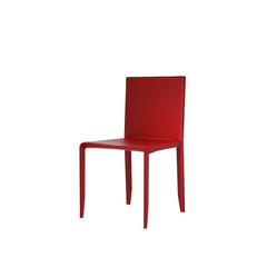 Isolated red leather dining chair