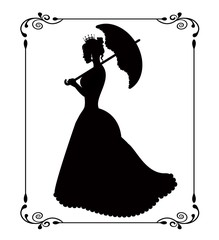 princess silhouette in retro patterned frame