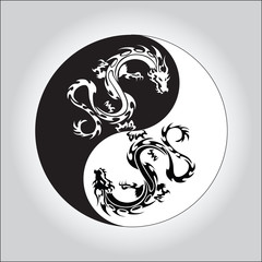 black and white dragon in Yin yang symbol