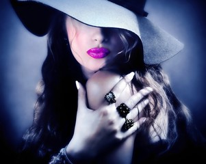 Sexy pretty woman model pink lips vintage retro hat jewelry kiss