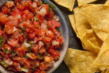 Homemade Pico De Gallo Salsa and Chips