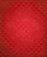 Vector red grunge background with heart pattern.