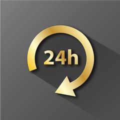"Icône ""24h"" (tampon horaires ouverture heures service clients)"