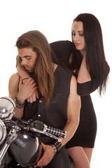couple motorcycle wear black look down
