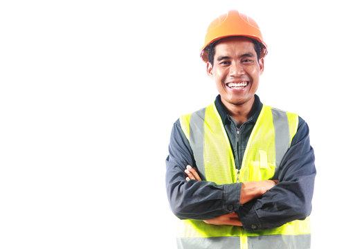 Man engineer isolated on white background