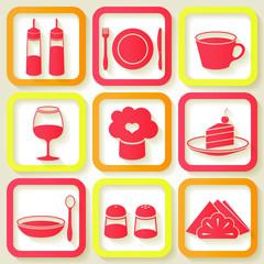 Set of 9 retro icons of kitchen utensils. Eps10