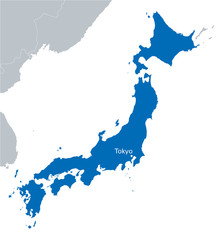 blue map of Japan with the indicating Tokyo