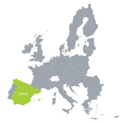 map of European Union with the indication of Spain