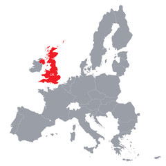 map of European Union with the indication of United Kingdom
