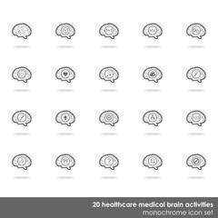 działanie mózgu zestaw jasnych ikon na białym tle