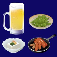 ビールとつまみ3種