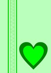 Karte hellgrün ein Herz