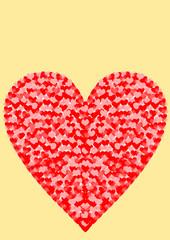 Karte hellgelb großes Herz gefüllt mit kleine Herzen