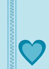 Karte hellblau ein Herz
