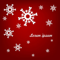 light snowflakes on a red background