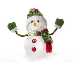 toy snowman on white background