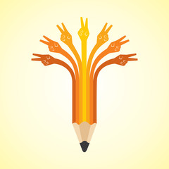 Victory hands make pencil - vector illustration