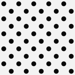 Black Polka Dots on White Textured Fabric Background