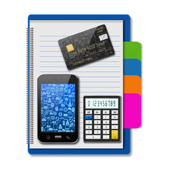 Smartphone with creditcard and calculator on notebook,creative b