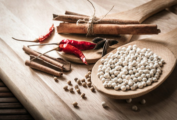 herbs and spices on wooden closeup
