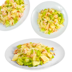 apple shrimp salad set isolated on white background clipping pat
