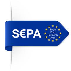 S€PA, SEPA - Langer EU Sticker Pfeil mit Schatten