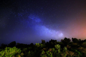 Sky with stars in night, milky way