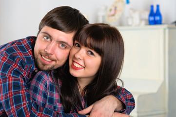 Couple portrait at home