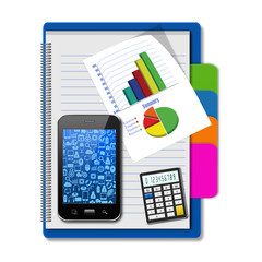 Smartphone with graphs and calculator on notebook,creative busin