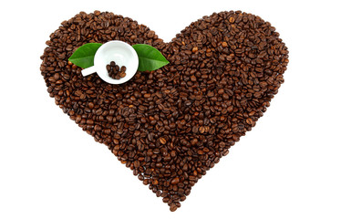 Heart made from coffee beans on white background.