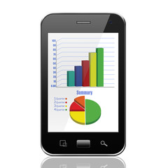 Graph on smartphone,cell phone illustration