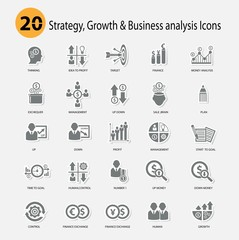 Strategy,Growth & Business analysis Icons,Gray version,vector