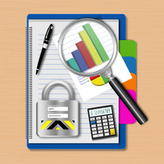 Magnifying glass with graph and padlock on notebook,creative bus