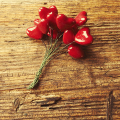 Vintage style photo. Valentines Day, red heart