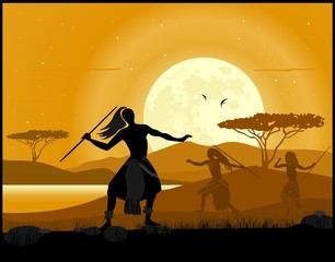 Africa landscape background. African hunters and moon rise