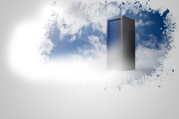 Splash on wall revealing server tower