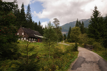 Chalet with the road