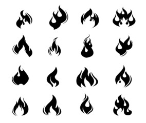 Fire flames, set icons,