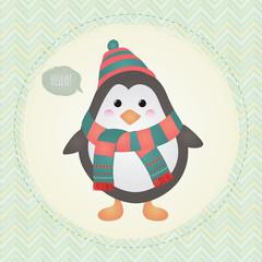 Cute Penguin in Textured Frame design illustration