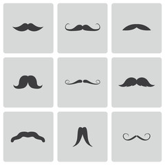 Vector black mustaches icons set