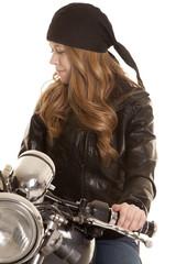 woman black leather motorcycle look down side