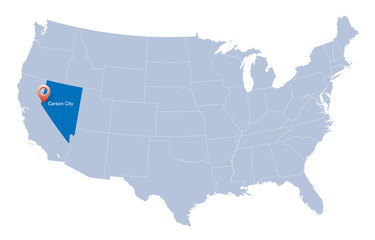 map of USA with the indication of State of Nevada