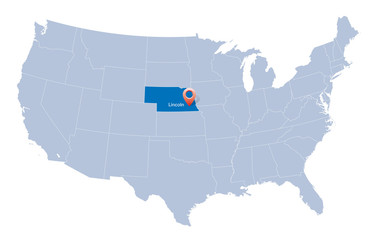 USA map with the indication of State of Nebraska and Lincoln