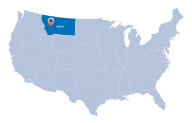 USA map with the indication of State of Montana and Helena town