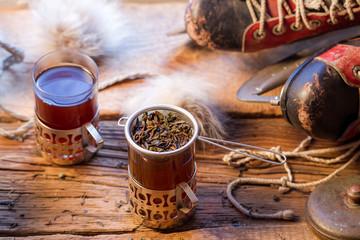 Fototapete - Leaf tea brewed in the strainer